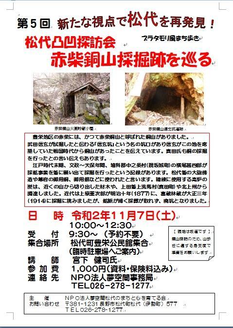 松代凸凹探訪 赤柴銅山採掘跡をめぐる(ブラタモリ風まち歩き)